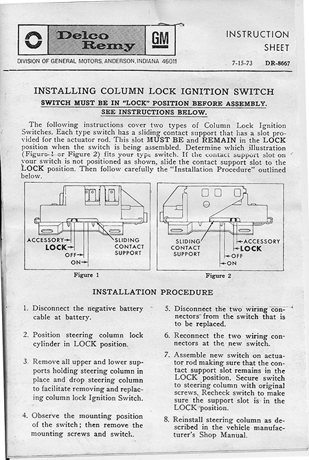 69-75 Travelall & Pickup  Ignition Switch, Fixed-Column