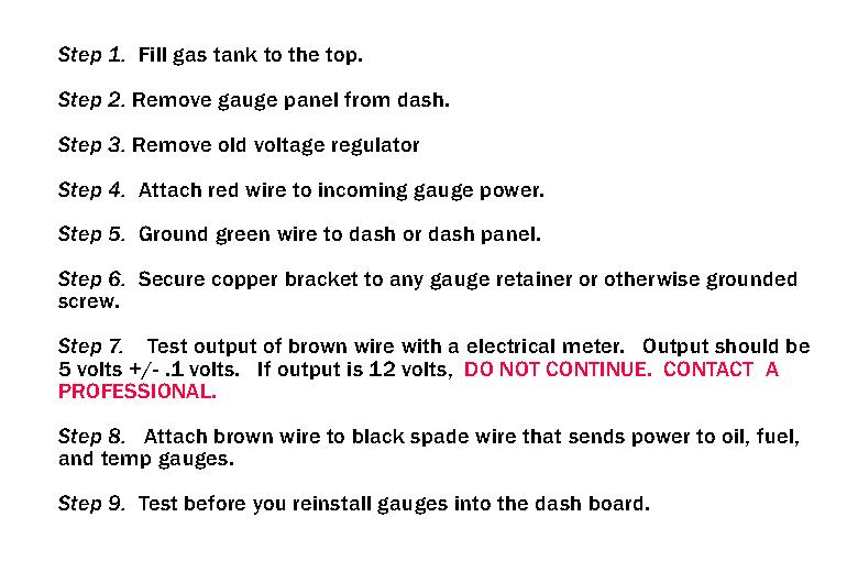 Solid State Voltage Regulator Kit for Gauges.